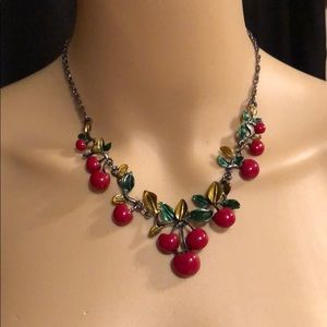 🌺 Antique Silver Cherries Statement Necklace
